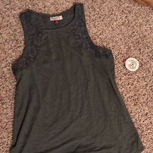 Olive green tank top with lace detail